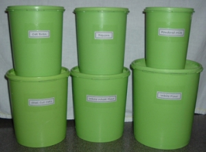 Labels help you know at a glance what's inside kitchen containers.