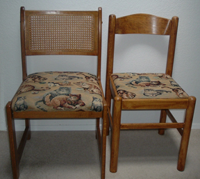 When viewing the chairs side by side, one might not think they would work together as a set.