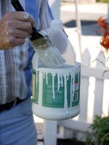 Vinegar jug holds paint