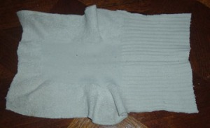 End up with a squarish rag for cleaning and polishing.